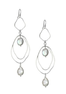 Chan Luu Sterling Silver Akoya Coin Baroque Pearl Dangle Drop Earrings