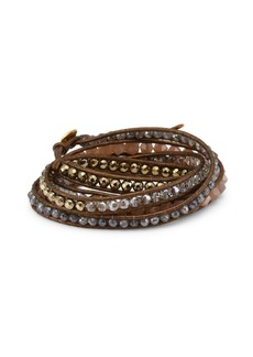 Chan Luu Sterling Silver, Leather & Multi-Stone Wrap Bracelet