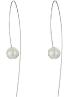 Chan Luu Sterling Silver Thread Thru Wire Earrings with White Fresh Water Pearls