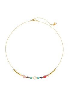 Chan Luu Swarovski Crystal, 8MM Pearl & Pink Mixed Stone 18K Goldplated Short Necklace