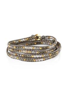 Chan Luu Swarovski Crystals, Leather & Sterling Silver Mix Bracelet