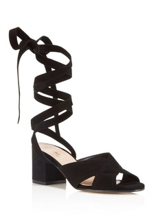 Charles David Blossom Lace Up Mid Heel Sandals