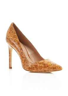 Charles David Caterina Glossed Cork Pointed Toe Pumps