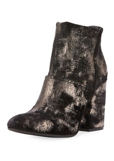Charles David Celeste Distressed Metallic Velvet Ankle Bootie