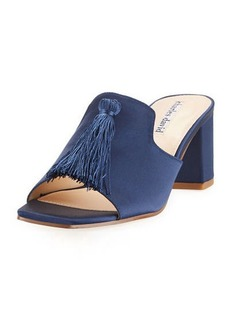 Charles David Chia Block-Heel Satin Tassel Slide Sandal