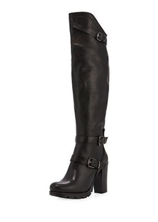 Charles David Delaware Leather Knee-High Boot with Buckles