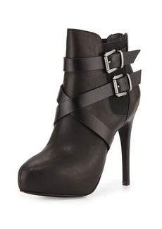 Charles David Fame Buckle Leather Platform Bootie