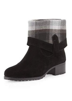 Charles David June Flannel-Cuff Suede Bootie