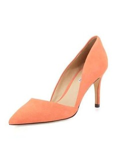 Charles David Lulu Pointed-Toe Leather d'Orsay Pump