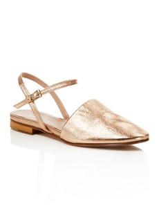 Charles David Mellow Metallic Ankle Strap Flats
