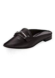 Charles David Melody Leather Flat Loafer Mule w/ Bit Detail