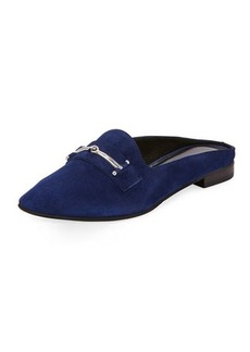 Charles David Melody Suede Flat Loafer Mule w/ Bit Detail