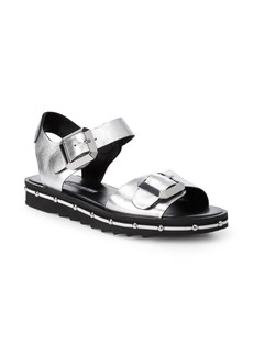 Metallic Leather Strap Sandals