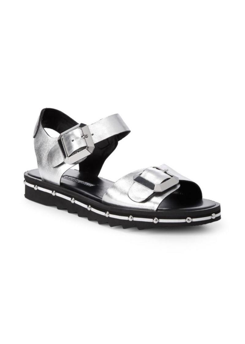 Charles David Metallic Leather Strap Sandals