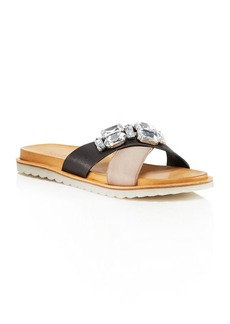 Charles David Pella Jeweled Crisscross Slide Sandals
