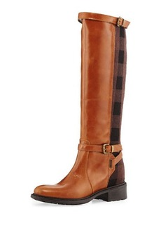 Charles David Pirella Plaid Flat Riding Boot