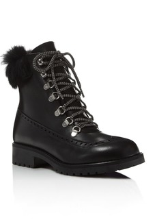 Charles David Rugby Leather and Rabbit Fur Lace Up Booties