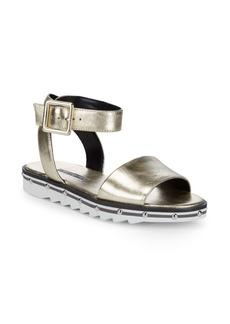 Charles David Shimmy Ankle-Strap Platform Leather Sandals