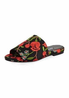 Charles David Slider Flora-Embroidered Flat Sandal