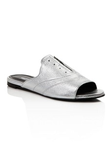 Charles David Smith Metallic Leather Oxford Slide Sandals