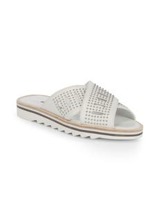Sneakey Crisscross Leather Slides