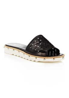 Charles David Space Perforated Studded Slide Sandals