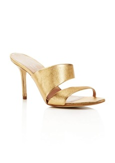Charles David Status Metallic Leather High Heel Slide Sandals