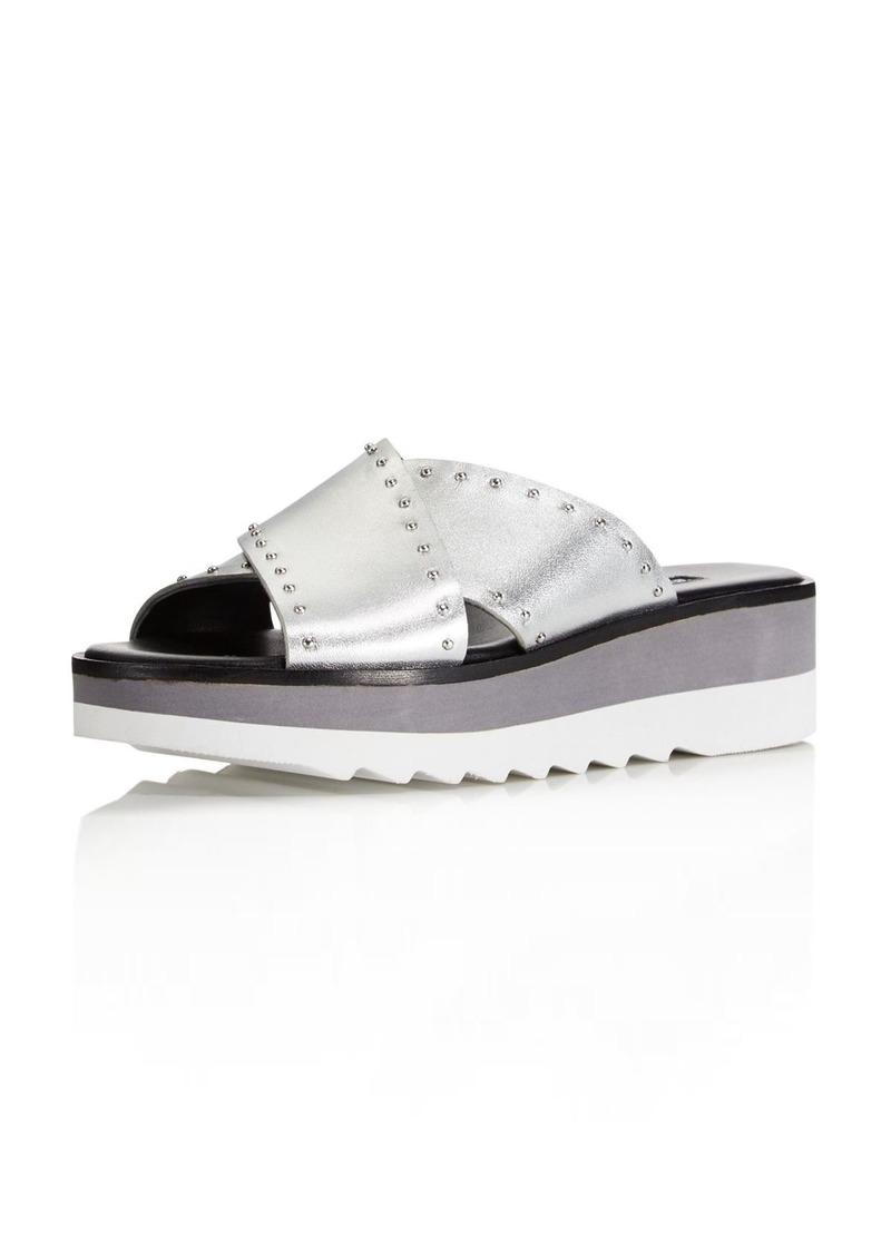 Charles David Women's Buxom Studded Leather Platform Slide Sandals