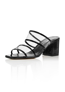 Charles David Women's Cally Patent Leather Illusion Block Heel Slide Sandals