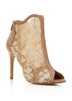 Charles David Women's Camilla Mesh & Embroidered Peep Toe Booties