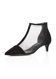 Charles David Women's Parlour Suede & Mesh Pointed Toe Kitten Heel Booties