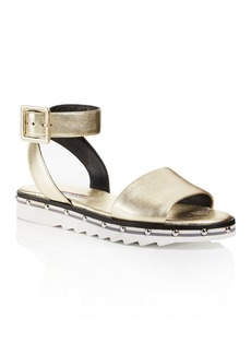 Charles David Women's Shimmy Leather Ankle Strap Sandals