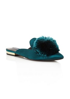 Charles David Women's Wella Satin Pom-Pom Pointed Toe Mules