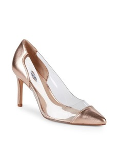 Clear Metallic Leather Pumps