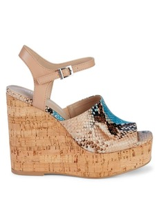 Charles David Dory Snakeskin-Embossed Leather Wedge Sandals