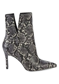 Charles David Embossed Snakeskin Leather Booties