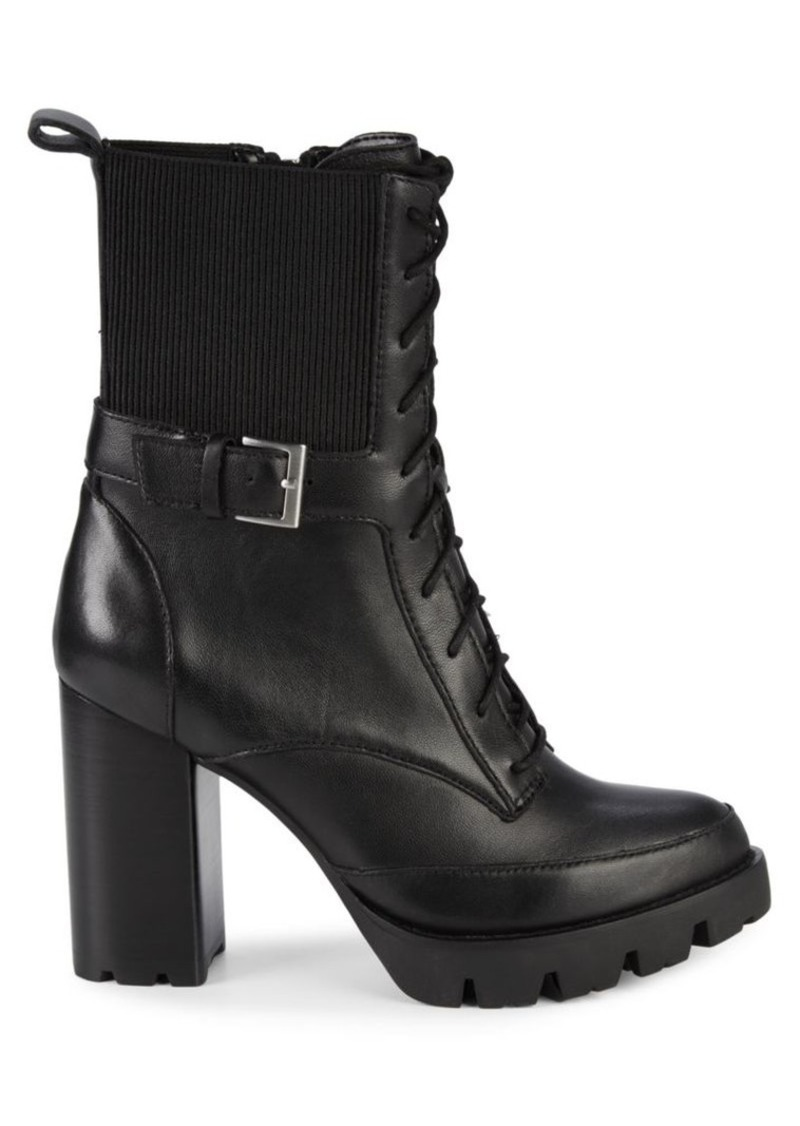 Charles David Govern Leather Stack-Heel Lace-Up Booties