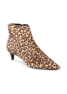 Charles David Kiss Point-Toe Leopard Print Faux Fur Booties
