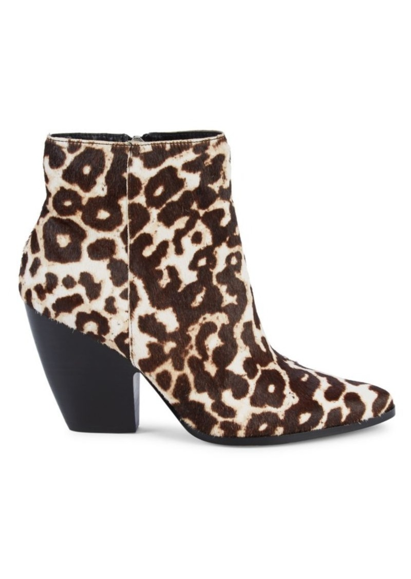 Charles David Niche Snow Leopard-Print Calf Hair Booties