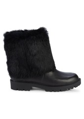 Charles David Rabbit Fur & Leather Ankle Boots