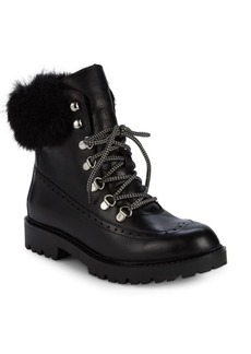 Charles David Ramses Faux Fur Trim Leather Hiking Boots