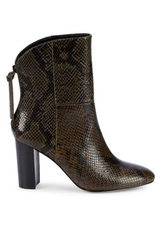 Charles David Snakeskin-Embossed Leather Bootie