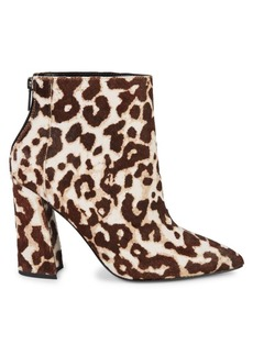 Charles David Snow Leopard Calf Hair Point-Toe Booties