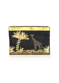 Charlotte Olympia Ari Adventurous Embellished Linen & Metallic Leather Zip Pouch