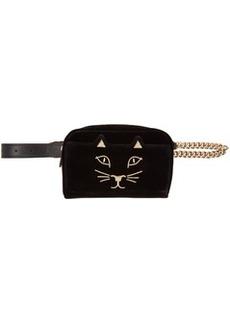 Charlotte Olympia Black Velvet Purrefect Belt Bag