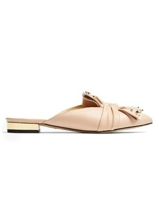 Charlotte Olympia Alexandra embellished-bow leather backless flats