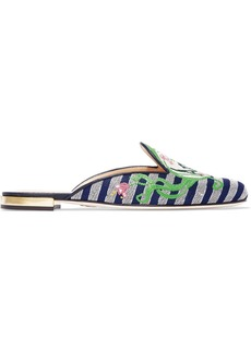 Charlotte Olympia Amour Embroidered Jacquard Slippers Cheap Classic Buy Cheap How Much 3hIOAf9