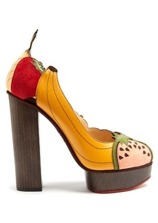 Charlotte Olympia Bananas Is My Business leather and suede pumps