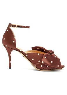 Charlotte Olympia Bow-embellished polka-dot satin pumps