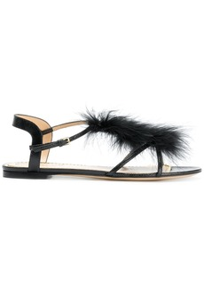 Charlotte Olympia flat feather embellished sandals - Black